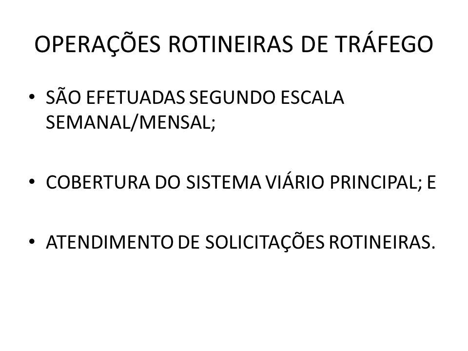 OPERAÇÕES ROTINEIRAS DE TRÁFEGO SÃO EFETUADAS SEGUNDO ESCALA SEMANAL/MENSAL; COBERTURA DO SISTEMA VIÁRIO PRINCIPAL; E ATENDIMENTO DE SOLICITAÇÕES ROTINEIRAS.