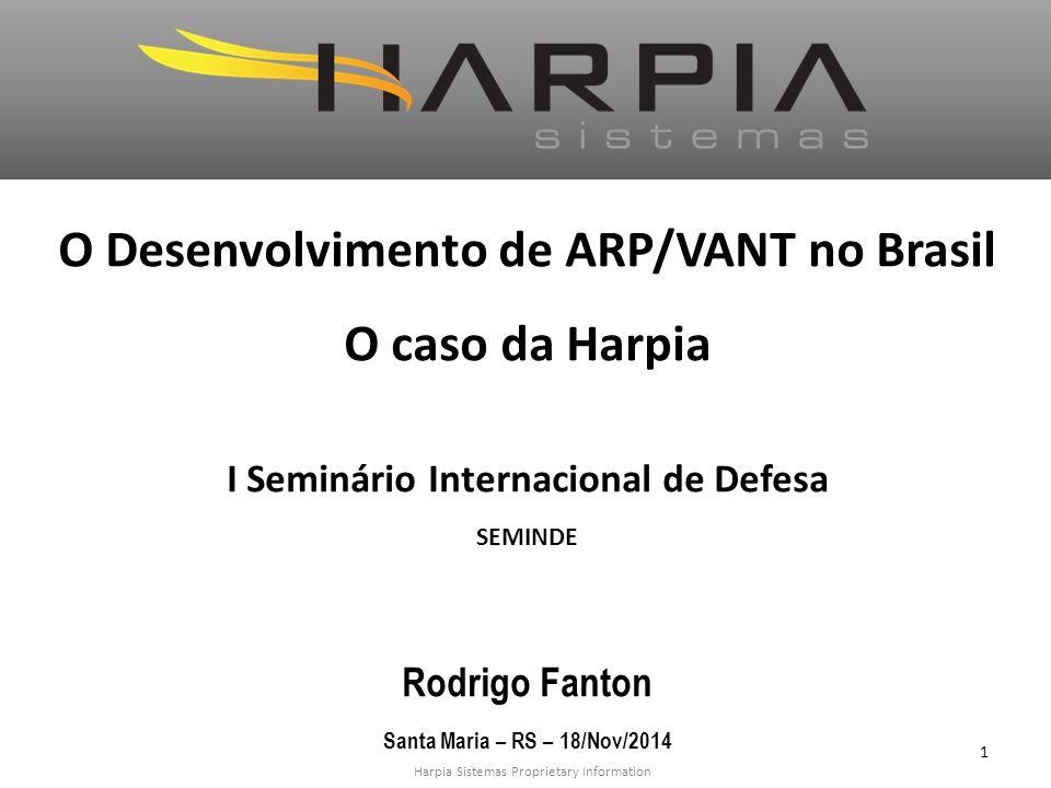 Harpia Sistemas Proprietary Information O Desenvolvimento de ARP/VANT no Brasil O caso da Harpia I Seminário Internacional de Defesa SEMINDE Rodrigo Fanton Santa Maria – RS – 18/Nov/2014 1