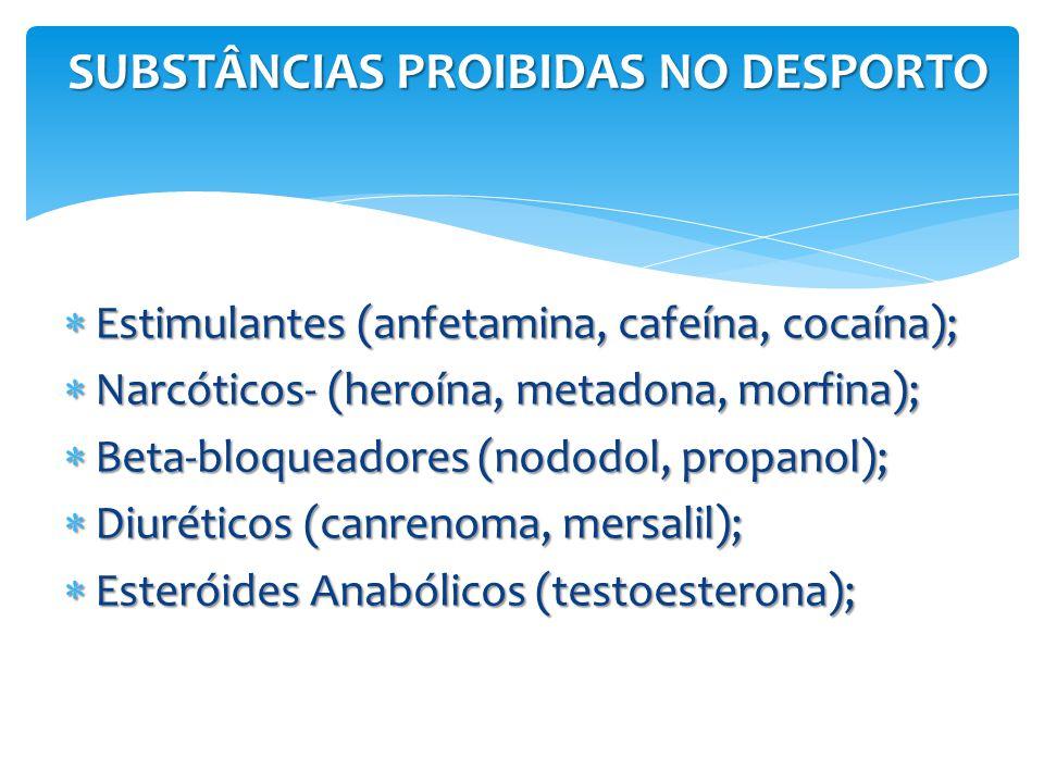 SUBSTÂNCIAS PROIBIDAS NO DESPORTO  Estimulantes (anfetamina, cafeína, cocaína);  Narcóticos- (heroína, metadona, morfina);  Beta-bloqueadores (nodo
