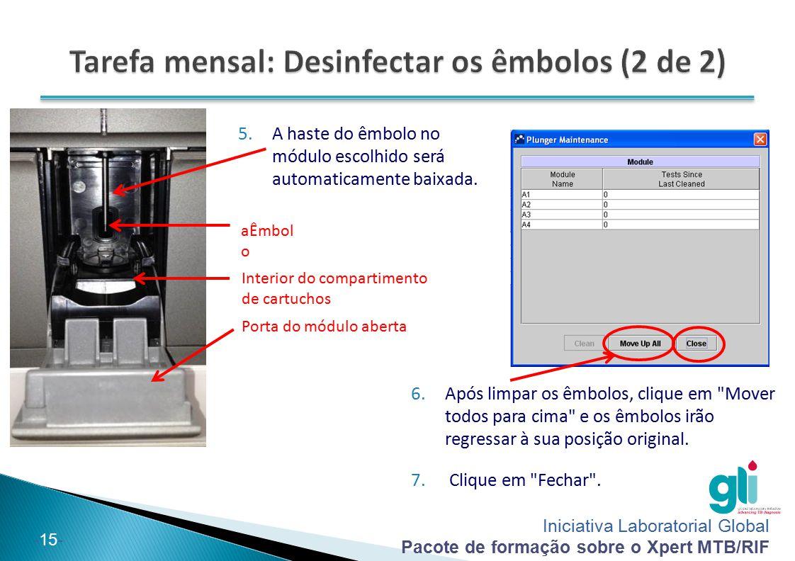 Iniciativa Laboratorial Global Pacote de formação sobre o Xpert MTB/RIF -15- 5.A haste do êmbolo no módulo escolhido será automaticamente baixada. aÊm