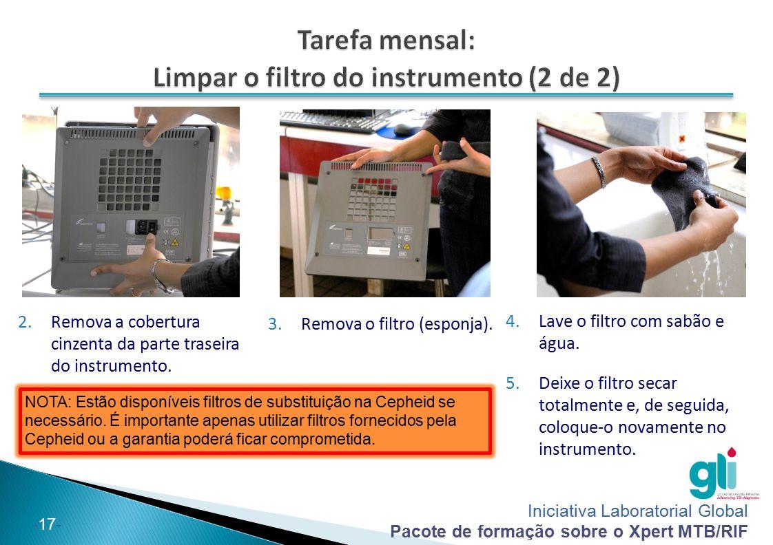 Iniciativa Laboratorial Global Pacote de formação sobre o Xpert MTB/RIF -17- 2.Remova a cobertura cinzenta da parte traseira do instrumento. 3.Remova