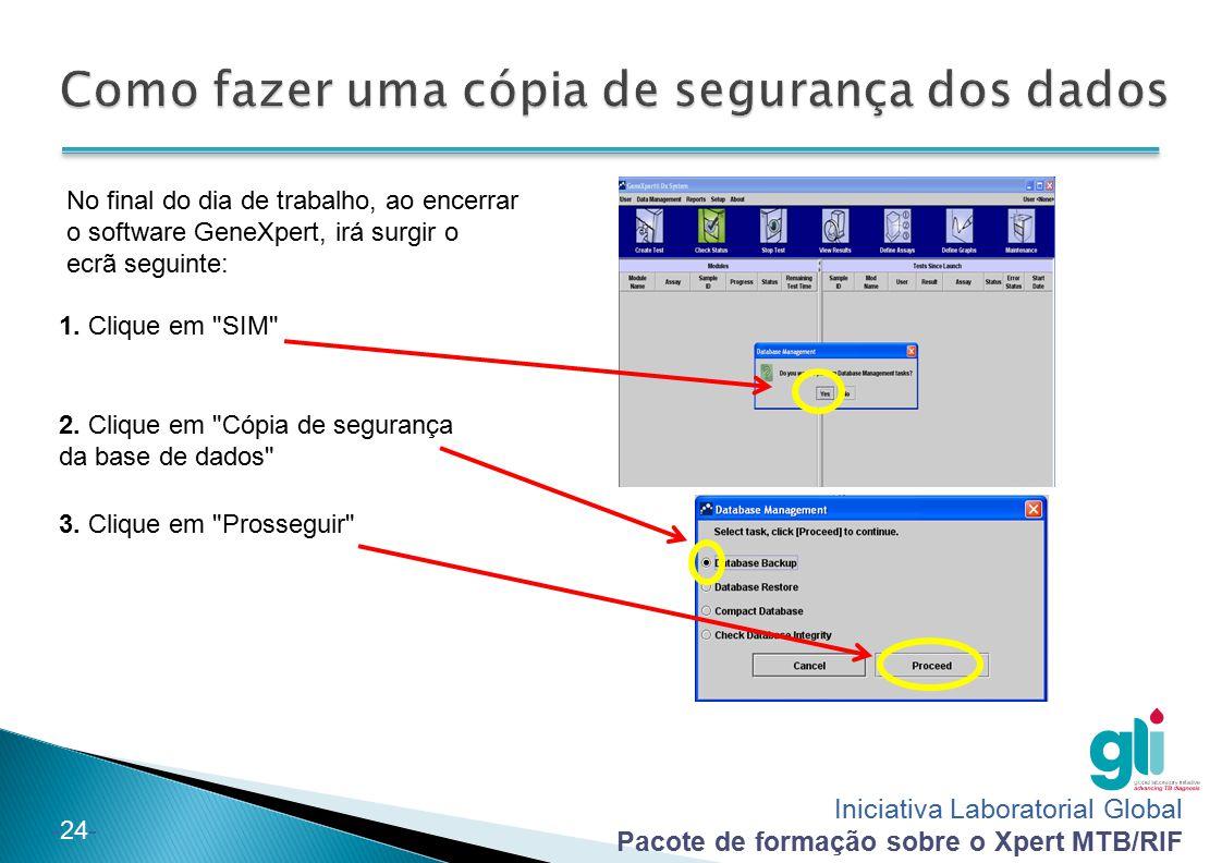 Iniciativa Laboratorial Global Pacote de formação sobre o Xpert MTB/RIF -24- No final do dia de trabalho, ao encerrar o software GeneXpert, irá surgir