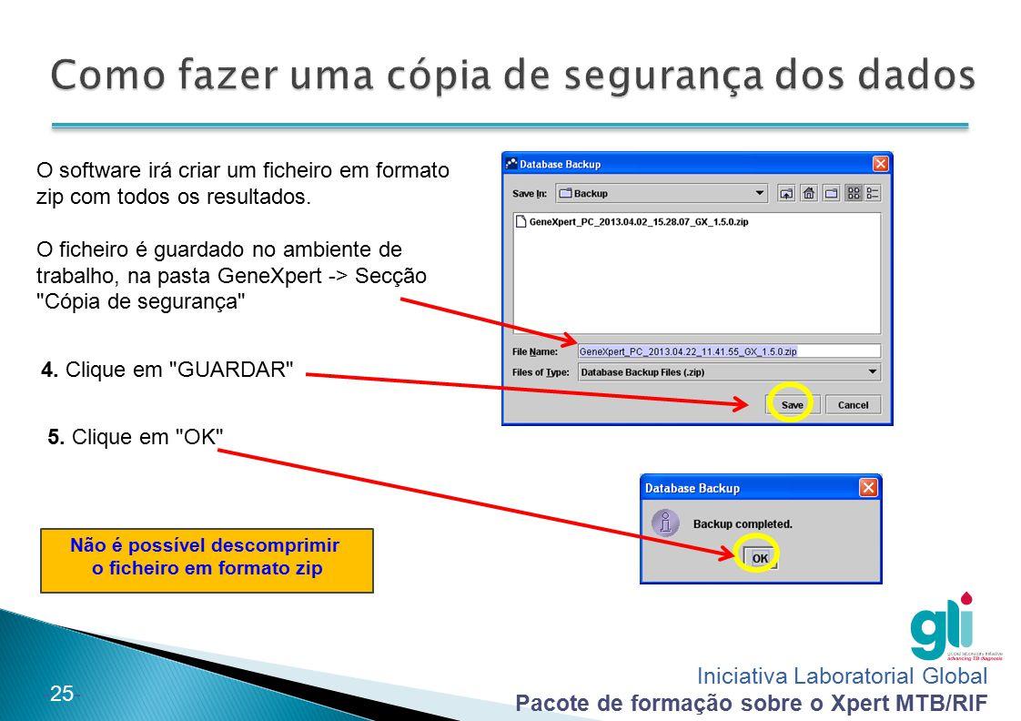 Iniciativa Laboratorial Global Pacote de formação sobre o Xpert MTB/RIF -25- O software irá criar um ficheiro em formato zip com todos os resultados.