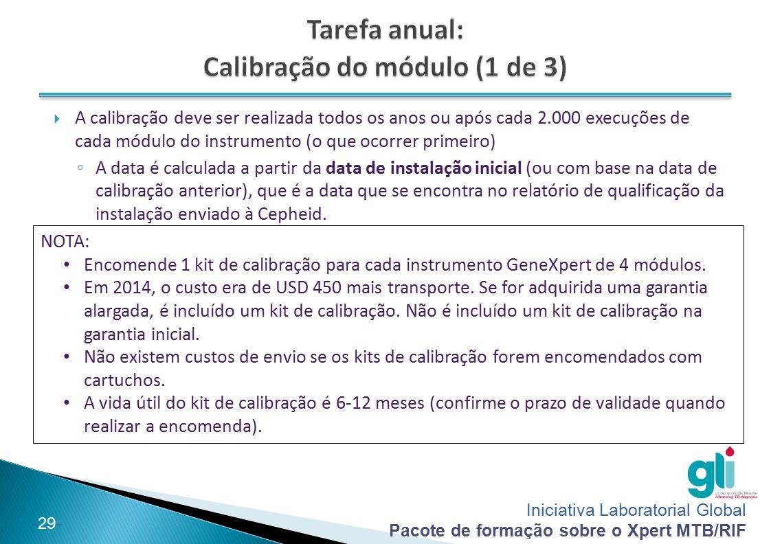 Iniciativa Laboratorial Global Pacote de formação sobre o Xpert MTB/RIF -29-  A calibração deve ser realizada todos os anos ou após cada 2.000 execuç
