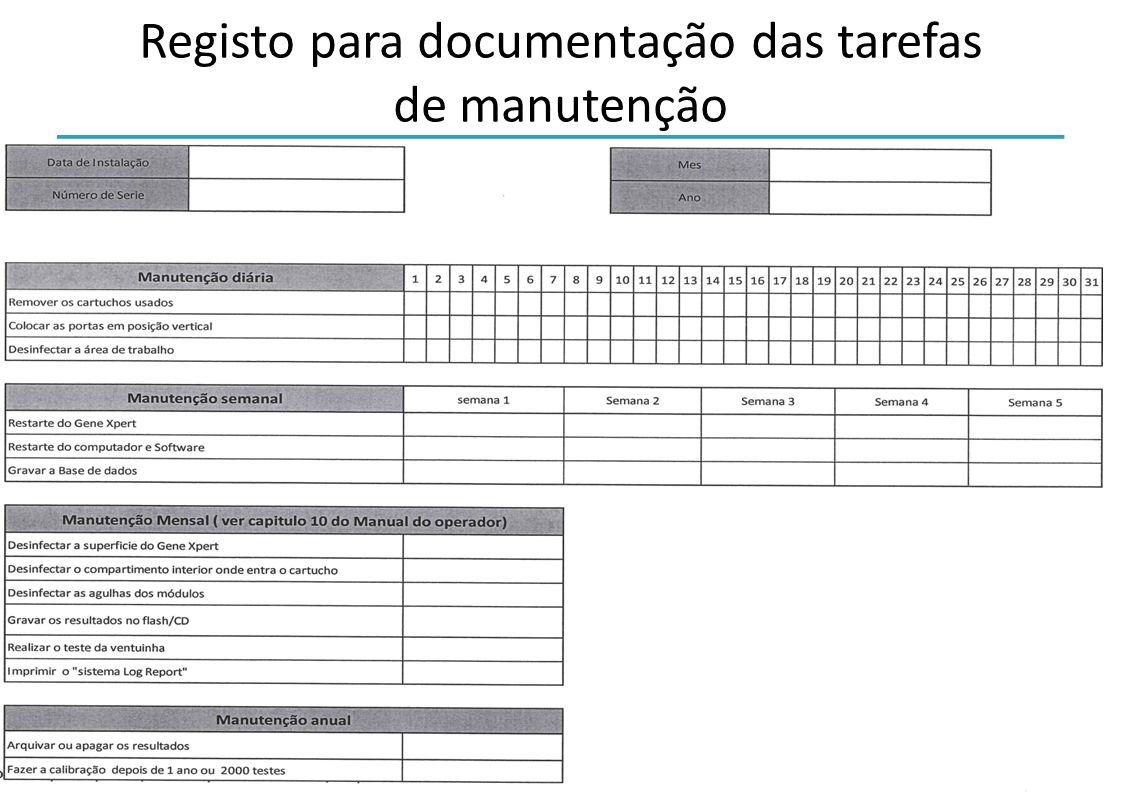 Iniciativa Laboratorial Global Pacote de formação sobre o Xpert MTB/RIF -37- Registo para documentação das tarefas de manutenção