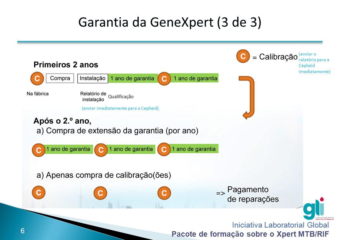 Iniciativa Laboratorial Global Pacote de formação sobre o Xpert MTB/RIF -6--6- Garantia da GeneXpert (3 de 3) Qualificação (enviar imediatamente para