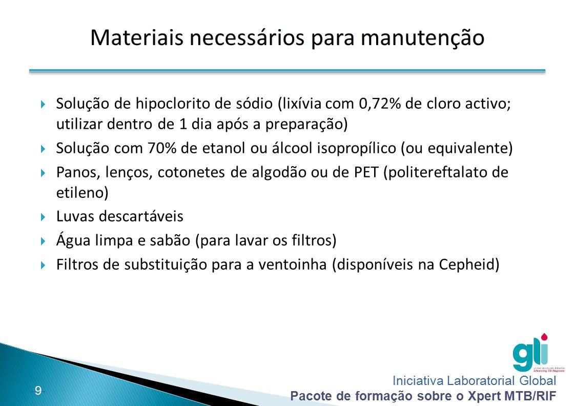 Iniciativa Laboratorial Global Pacote de formação sobre o Xpert MTB/RIF -9--9- Materiais necessários para manutenção  Solução de hipoclorito de sódio