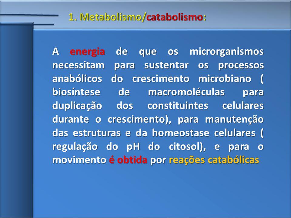 A energia de que os microrganismos necessitam para sustentar os processos anabólicos do crescimento microbiano ( biosíntese de macromoléculas para duplicação dos constituintes celulares durante o crescimento), para manutenção das estruturas e da homeostase celulares ( regulação do pH do citosol), e para o movimento é obtida por reações catabólicas