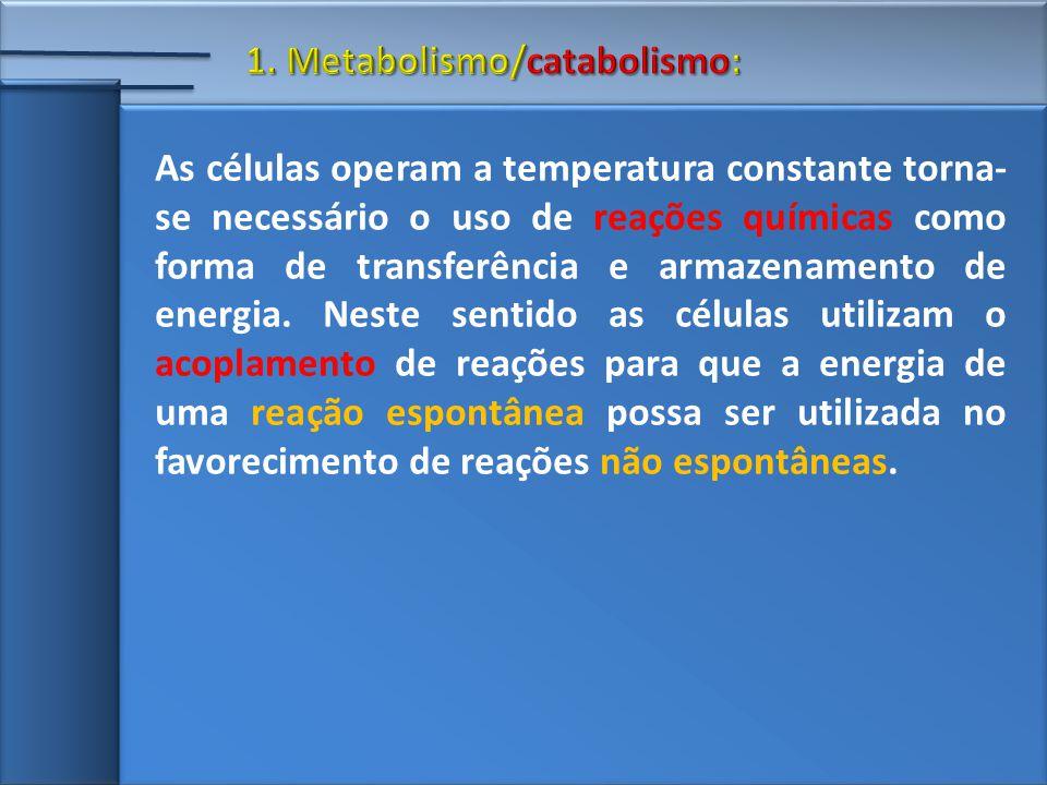 As células operam a temperatura constante torna- se necessário o uso de reações químicas como forma de transferência e armazenamento de energia.