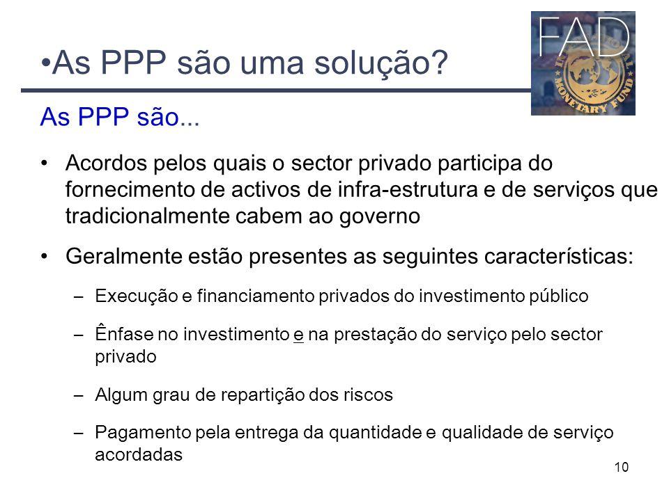 10 Acordos pelos quais o sector privado participa do fornecimento de activos de infra-estrutura e de serviços que tradicionalmente cabem ao governo Ge