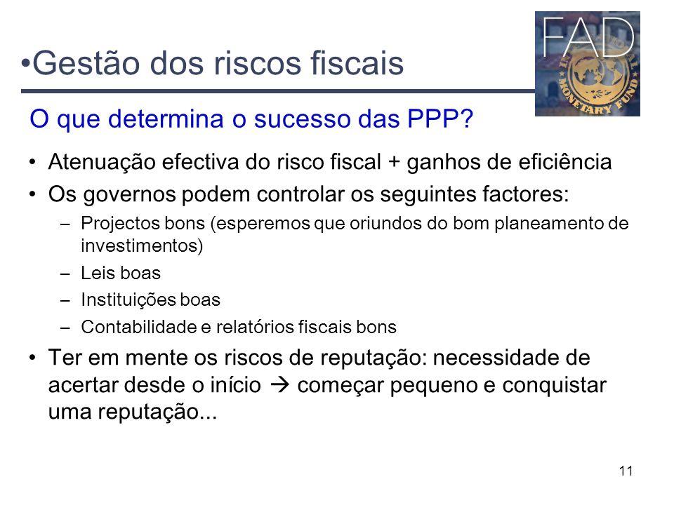 11 Gestão dos riscos fiscais Atenuação efectiva do risco fiscal + ganhos de eficiência Os governos podem controlar os seguintes factores: –Projectos b