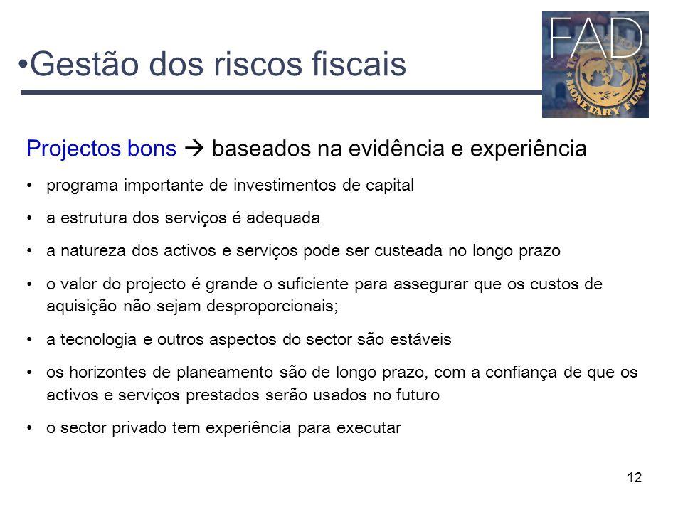 12 Gestão dos riscos fiscais Projectos bons  baseados na evidência e experiência programa importante de investimentos de capital a estrutura dos serv