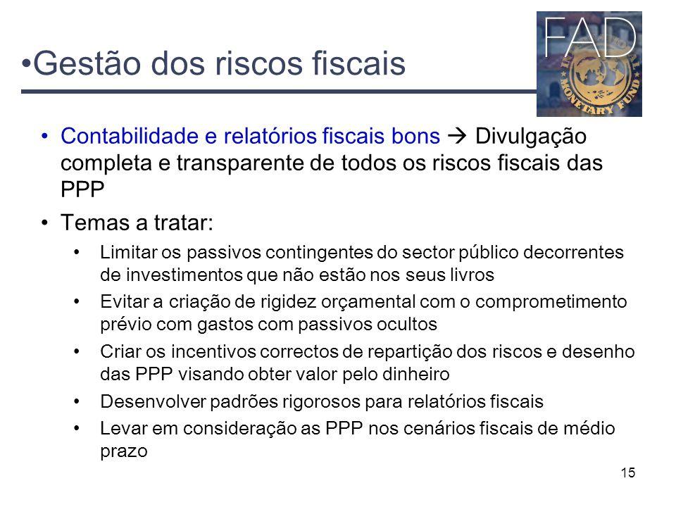 15 Contabilidade e relatórios fiscais bons  Divulgação completa e transparente de todos os riscos fiscais das PPP Temas a tratar: Limitar os passivos
