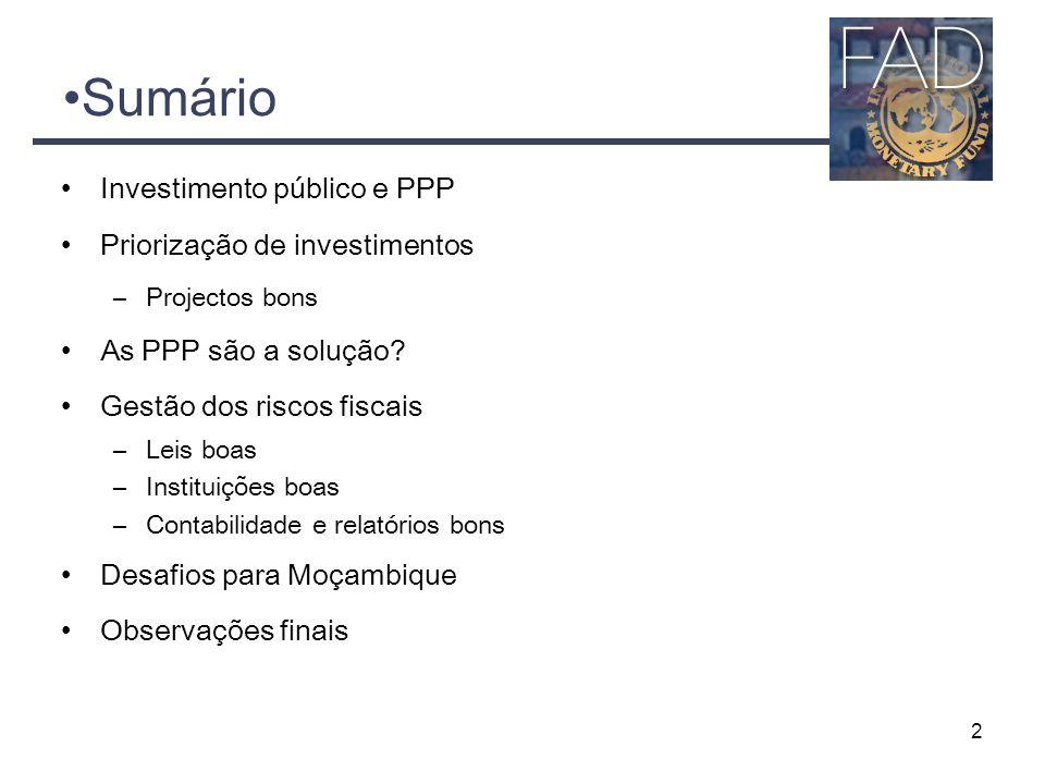 2 Sumário Investimento público e PPP Priorização de investimentos –Projectos bons As PPP são a solução? Gestão dos riscos fiscais –Leis boas –Institui