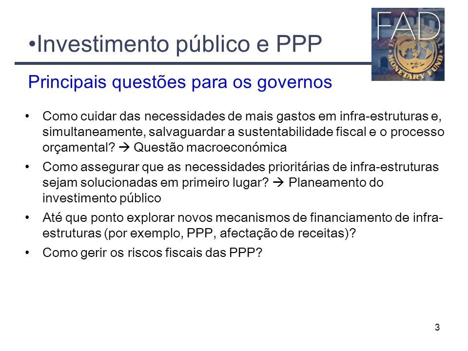 3 Investimento público e PPP Como cuidar das necessidades de mais gastos em infra-estruturas e, simultaneamente, salvaguardar a sustentabilidade fiscal e o processo orçamental.