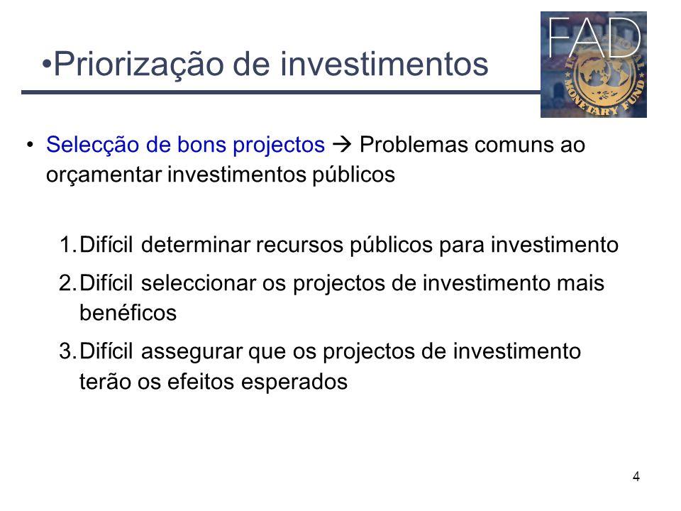 4 Priorização de investimentos Selecção de bons projectos  Problemas comuns ao orçamentar investimentos públicos 1.Difícil determinar recursos públicos para investimento 2.Difícil seleccionar os projectos de investimento mais benéficos 3.Difícil assegurar que os projectos de investimento terão os efeitos esperados