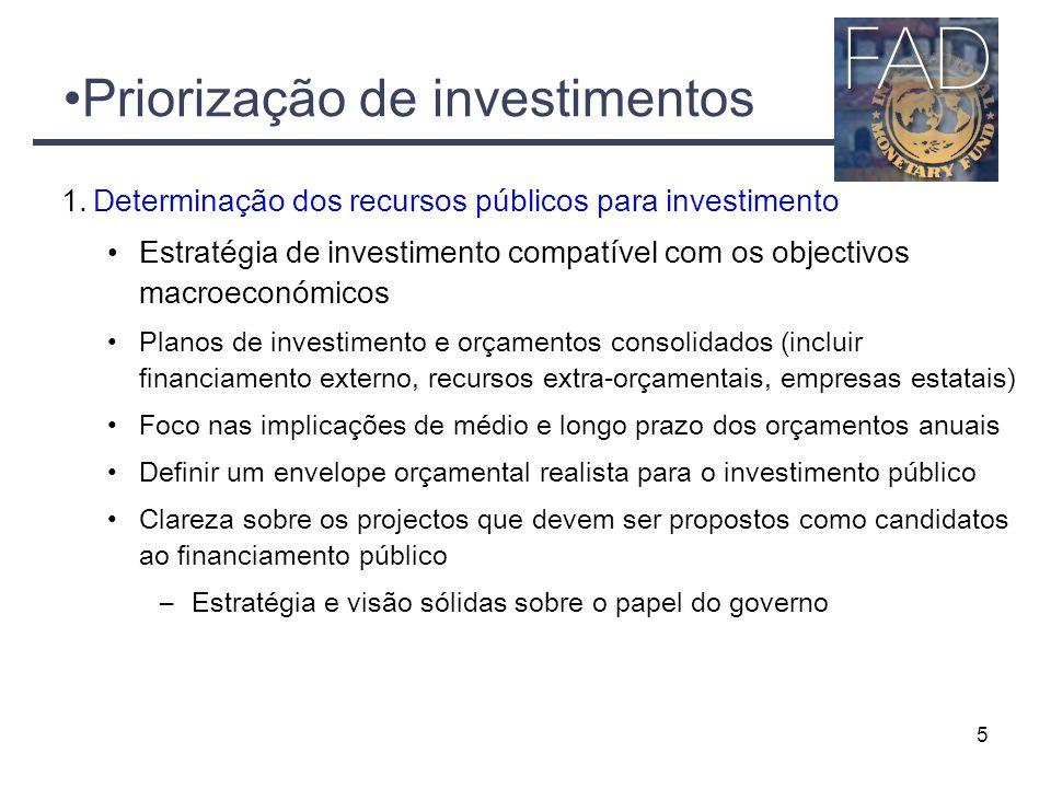 Priorização de investimentos 1.Determinação dos recursos públicos para investimento Estratégia de investimento compatível com os objectivos macroeconó