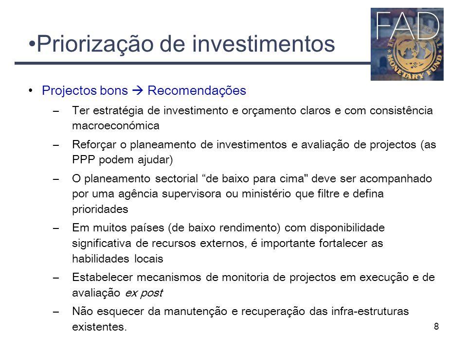 Priorização de investimentos Projectos bons  Recomendações –Ter estratégia de investimento e orçamento claros e com consistência macroeconómica –Refo