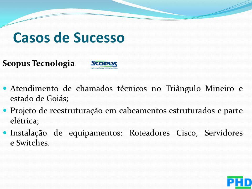 Scopus Tecnologia Atendimento de chamados técnicos no Triângulo Mineiro e estado de Goiás; Projeto de reestruturação em cabeamentos estruturados e par
