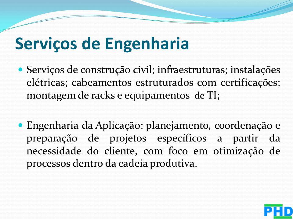 Serviços de Engenharia Serviços de construção civil; infraestruturas; instalações elétricas; cabeamentos estruturados com certificações; montagem de r