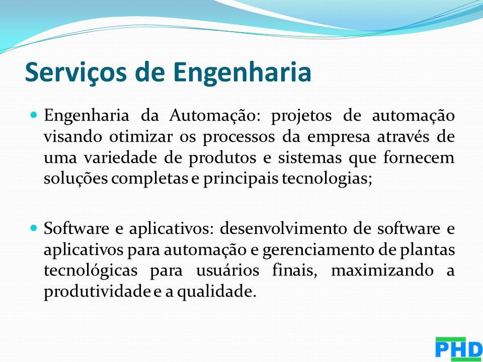 Serviços de Engenharia Engenharia da Automação: projetos de automação visando otimizar os processos da empresa através de uma variedade de produtos e