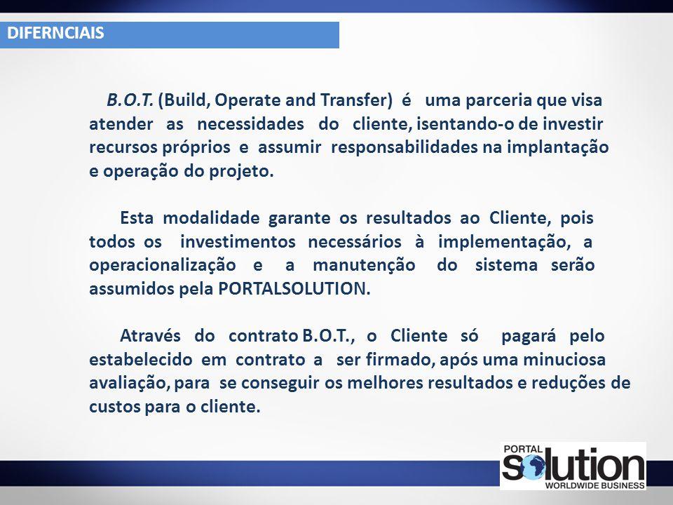 B.O.T. (Build, Operate and Transfer) é uma parceria que visa atender as necessidades do cliente, isentando-o de investir recursos próprios e assumir r