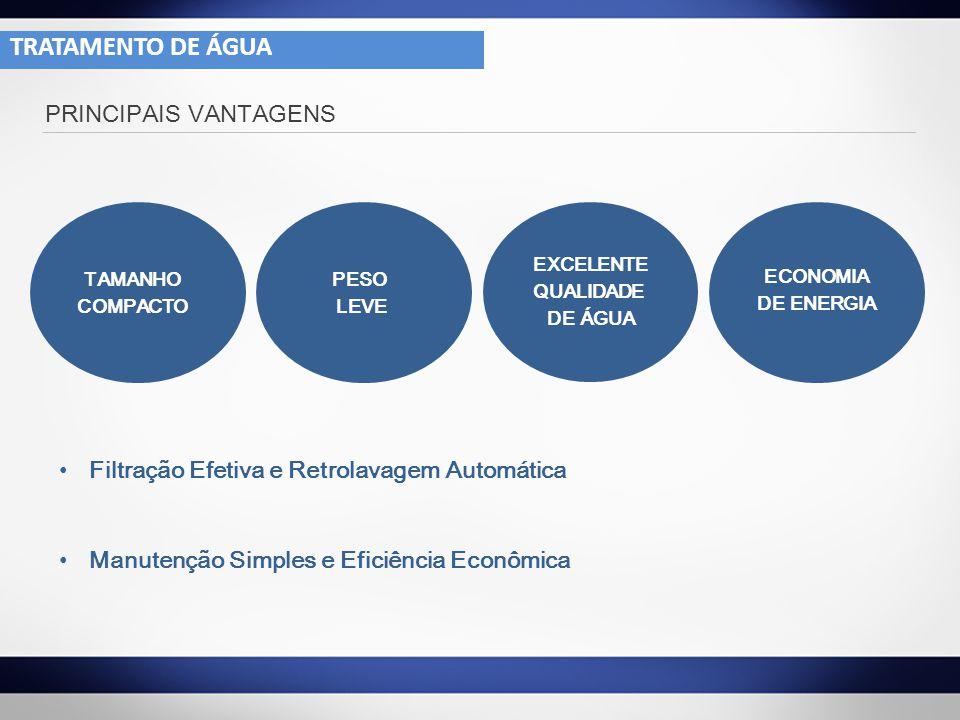 PRINCIPAIS VANTAGENS TAMANHO COMPACTO PESO LEVE EXCELENTE QUALIDADE DE ÁGUA ECONOMIA DE ENERGIA Filtração Efetiva e Retrolavagem Automática Manutenção