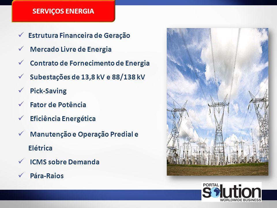 SERVIÇOS ENERGIA Estrutura Financeira de Geração Mercado Livre de Energia Contrato de Fornecimento de Energia Subestações de 13,8 kV e 88/138 kV Pick-