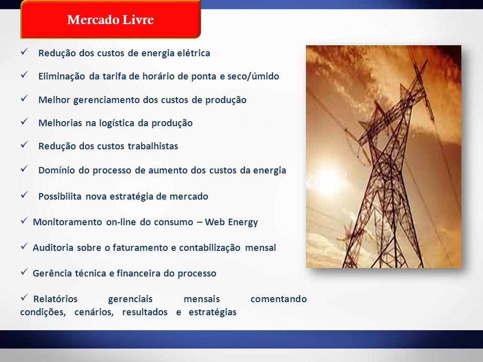 Mercado Livre Redução dos custos de energia elétrica Eliminação da tarifa de horário de ponta e seco/úmido Melhor gerenciamento dos custos de produção