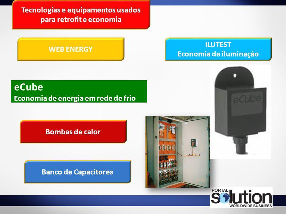 Tecnologias e equipamentos usados para retrofit e economia eCube Economia de energia em rede de frio WEB ENERGY ILUTEST Economia de iluminaçáo Bombas