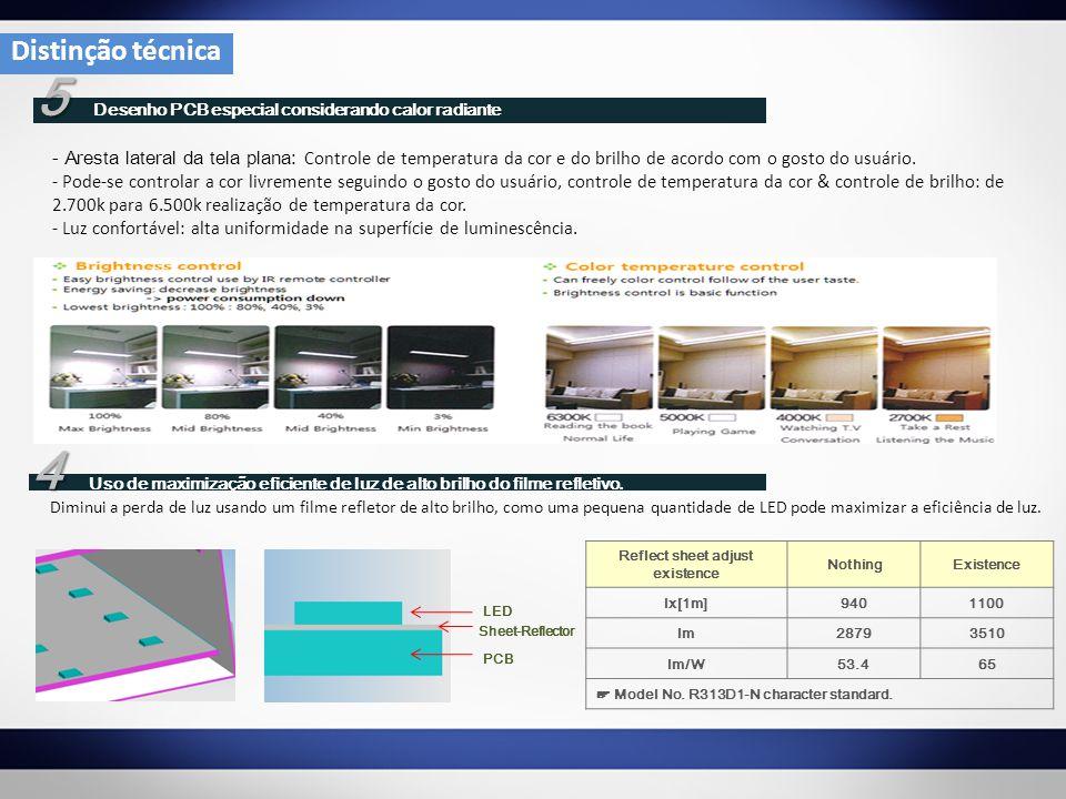 5 5 Desenho PCB especial considerando calor radiante - Aresta lateral da tela plana: Controle de temperatura da cor e do brilho de acordo com o gosto