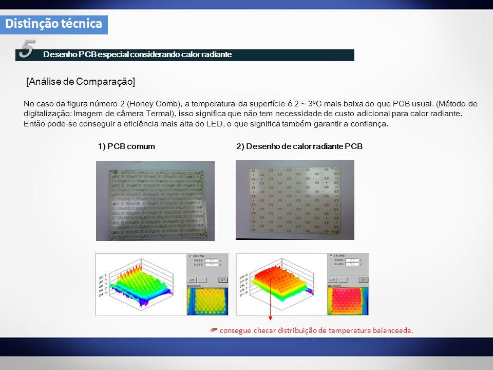 [Análise de Comparação] No caso da figura número 2 (Honey Comb), a temperatura da superfície é 2 ~ 3ºC mais baixa do que PCB usual. (Método de digital