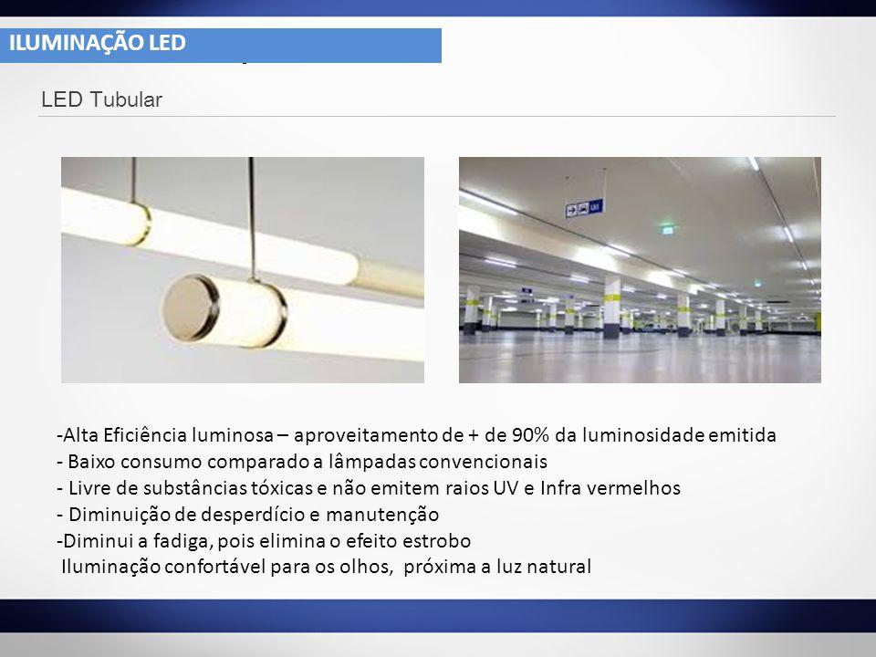 ILUMINAÇÃO LED 4- 1 LED Tubular -Alta Eficiência luminosa – aproveitamento de + de 90% da luminosidade emitida - Baixo consumo comparado a lâmpadas co