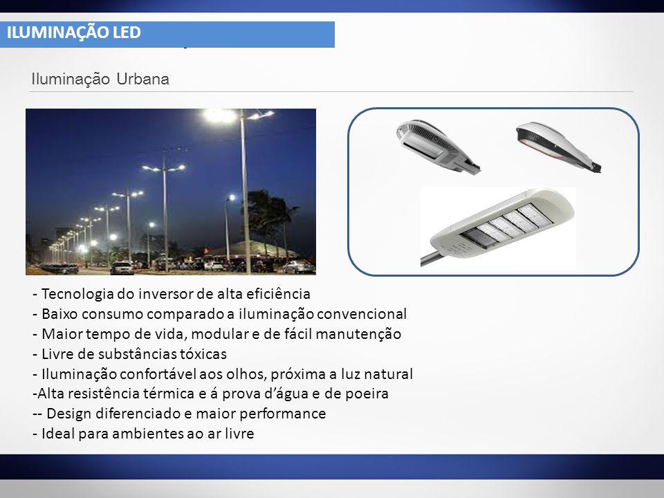 4- 1 Iluminação Urbana - Tecnologia do inversor de alta eficiência - Baixo consumo comparado a iluminação convencional - Maior tempo de vida, modular