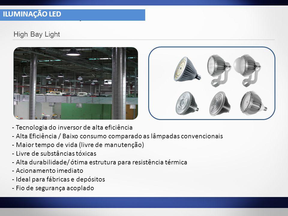 4- 1 High Bay Light - Tecnologia do inversor de alta eficiência - Alta Eficiência / Baixo consumo comparado as lâmpadas convencionais - Maior tempo de