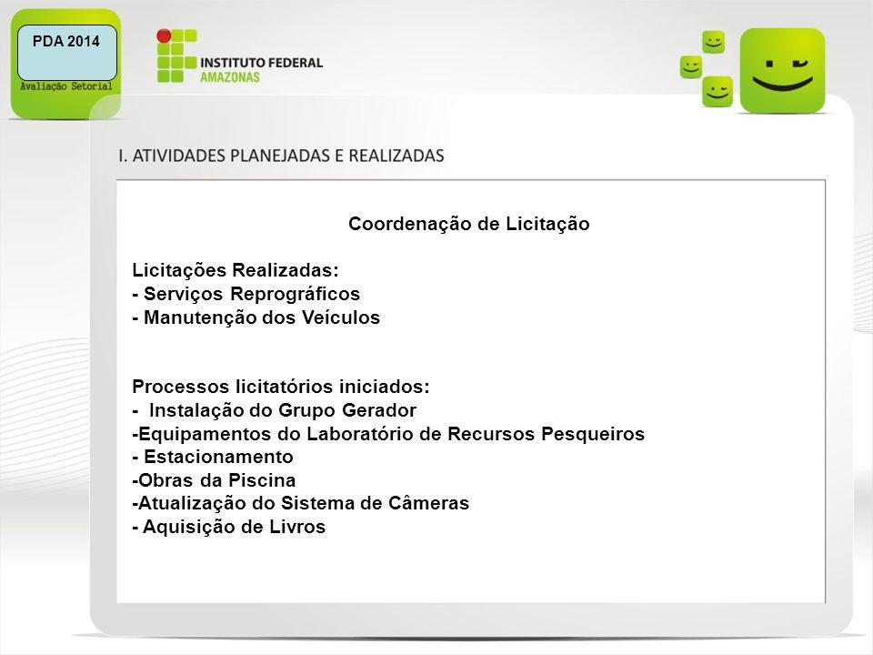 PDA 2014 Coordenação de Licitação Licitações Realizadas: - Serviços Reprográficos - Manutenção dos Veículos Processos licitatórios iniciados: - Instal