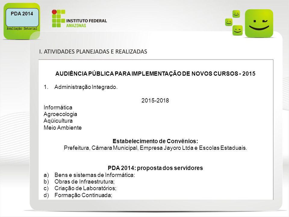 PDA 2014 AUDIÊNCIA PÚBLICA PARA IMPLEMENTAÇÃO DE NOVOS CURSOS - 2015 1.Administração Integrado. 2015-2018 Informática Agroecologia Aqüicultura Meio Am