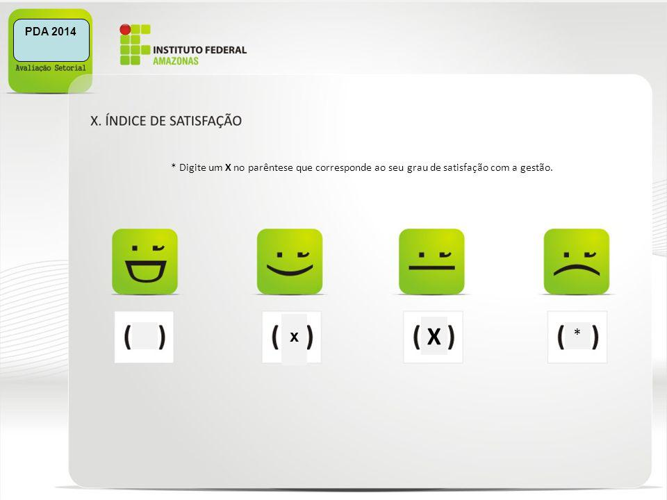 X * * Digite um X no parêntese que corresponde ao seu grau de satisfação com a gestão. x PDA 2014