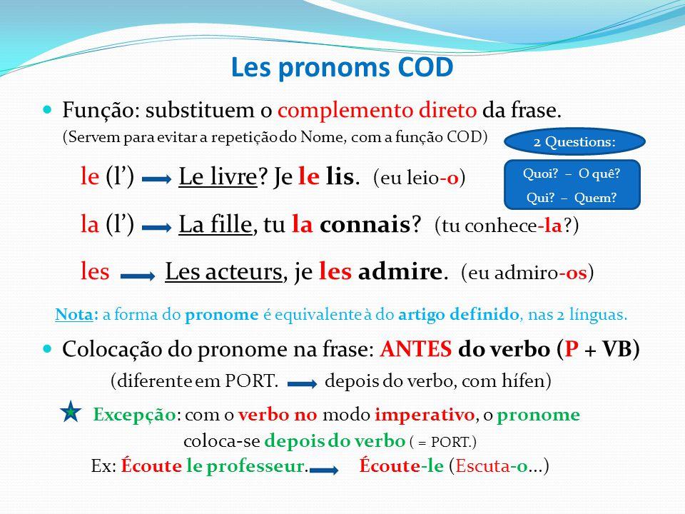 Les pronoms COD le - o la l´ les - o - os - a - as p/ nome sing. quando o VB inicia c/ vogal