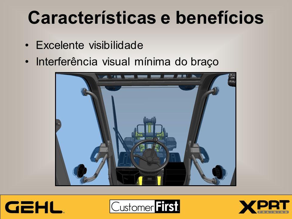 Características e benefícios Excelente visibilidade Interferência visual mínima do braço