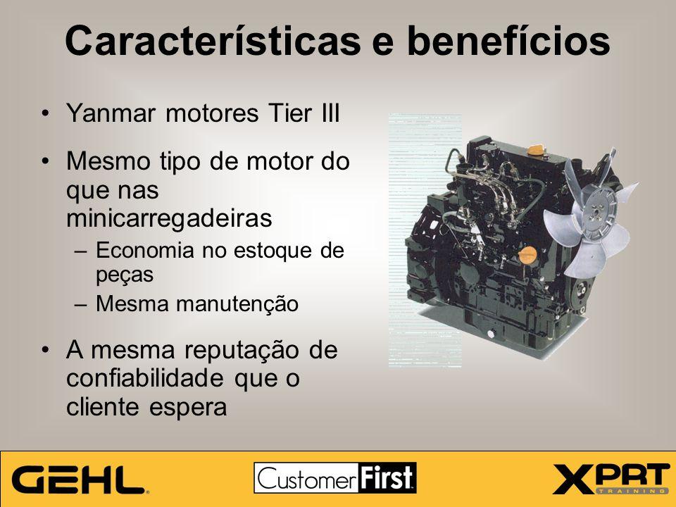 Características e benefícios Yanmar motores Tier III Mesmo tipo de motor do que nas minicarregadeiras –Economia no estoque de peças –Mesma manutenção