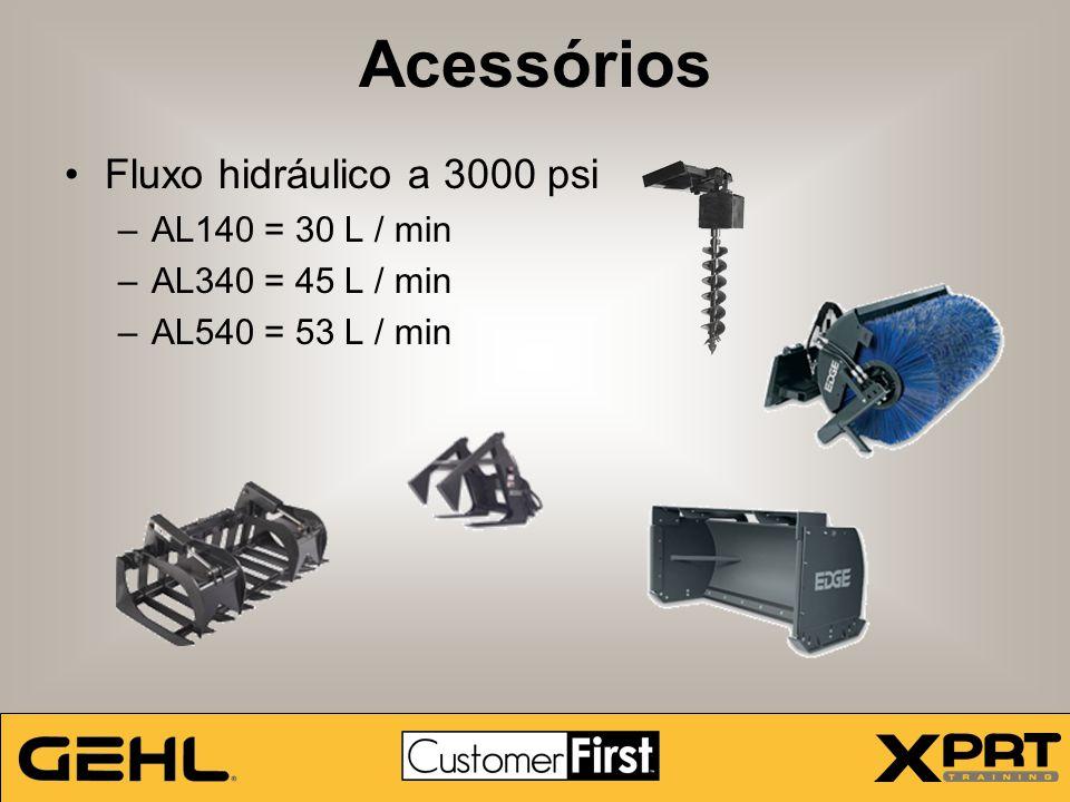 Acessórios Fluxo hidráulico a 3000 psi –AL140 = 30 L / min –AL340 = 45 L / min –AL540 = 53 L / min