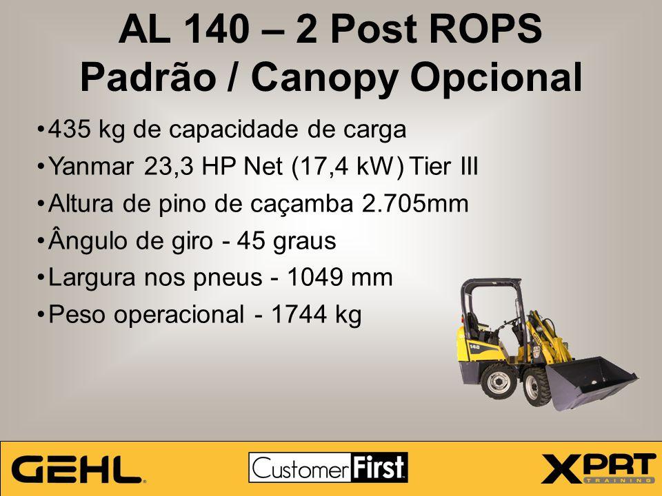 AL 140 – 2 Post ROPS Padrão / Canopy Opcional 435 kg de capacidade de carga Yanmar 23,3 HP Net (17,4 kW) Tier III Altura de pino de caçamba 2.705mm Ân