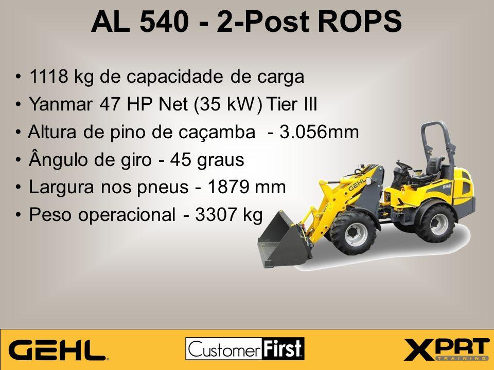 AL 540 - 2-Post ROPS 1118 kg de capacidade de carga Yanmar 47 HP Net (35 kW) Tier III Altura de pino de caçamba - 3.056mm Ângulo de giro - 45 graus La