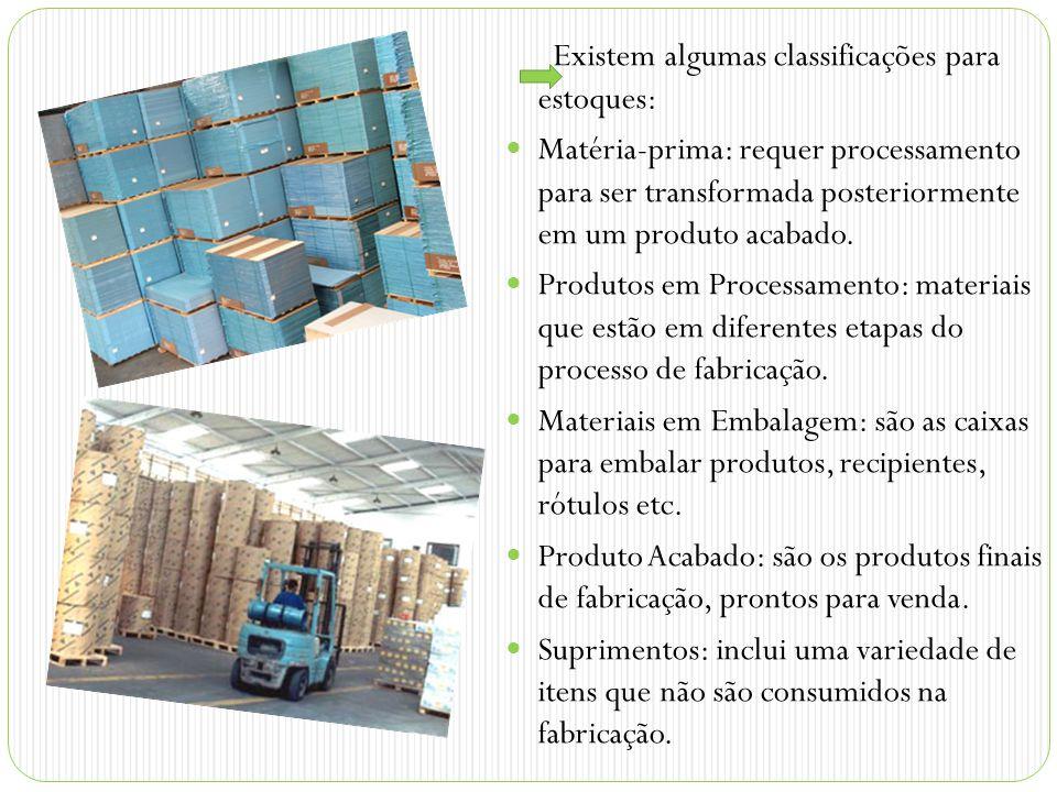 Existem algumas classificações para estoques: Matéria-prima: requer processamento para ser transformada posteriormente em um produto acabado.