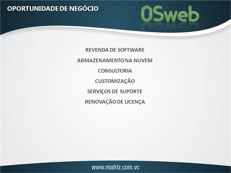 OPORTUNIDADE DE NEGÓCIO REVENDA DE SOFTWARE ARMAZENAMENTO NA NUVEM CONSULTORIA CUSTOMIZAÇÃO SERVIÇOS DE SUPORTE RENOVAÇÃO DE LICENÇA