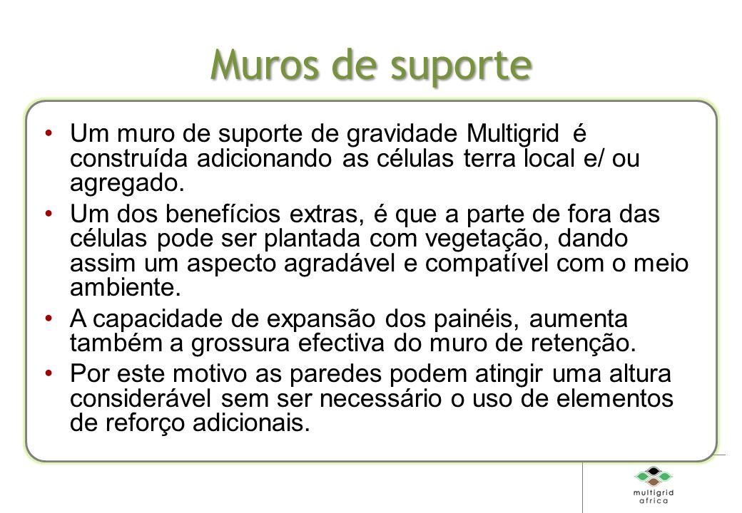 Muros de suporte Um muro de suporte de gravidade Multigrid é construída adicionando as células terra local e/ ou agregado.