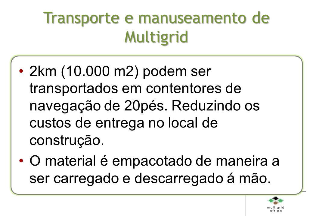 Transporte e manuseamento de Multigrid 2km (10.000 m2) podem ser transportados em contentores de navegação de 20pés.