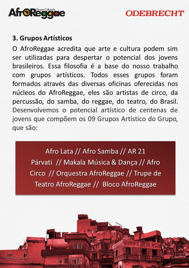 3. Grupos Artísticos O AfroReggae acredita que arte e cultura podem sim ser utilizadas para despertar o potencial dos jovens brasileiros. Essa filosof