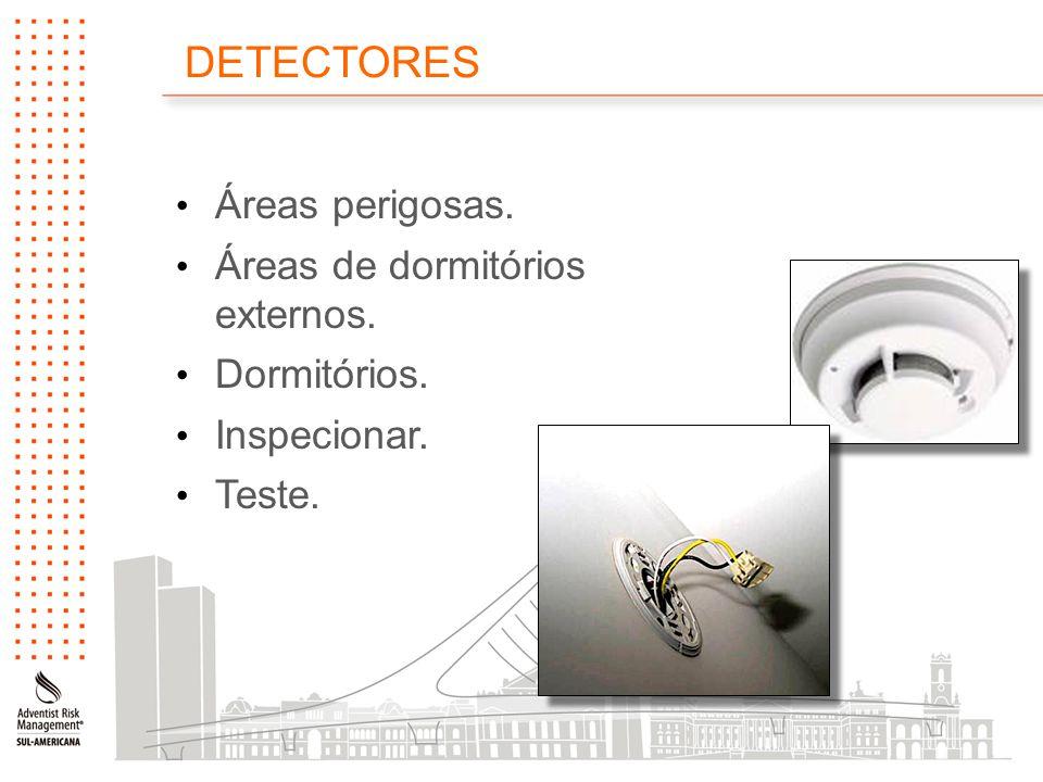 DETECTORES Áreas perigosas. Áreas de dormitórios externos. Dormitórios. Inspecionar. Teste.